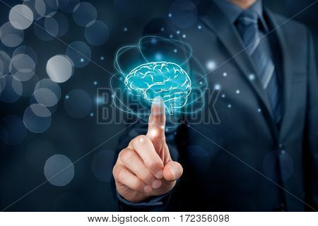 Artificial intelligence (AI), machine deep learning, creativity, headhunter, innovation and intellectual property rights. Brain representing artificial intelligence, creativity, innovation and similar with futuristic design.