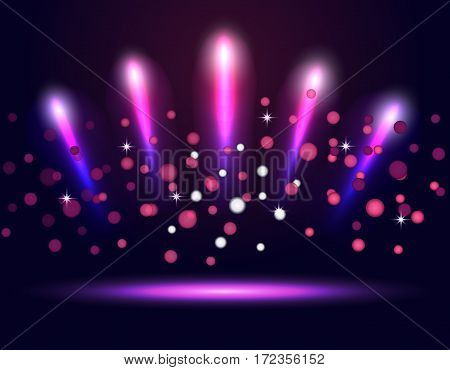 Lighting podium, stage neon spotlights. Abstraction Vector illustration
