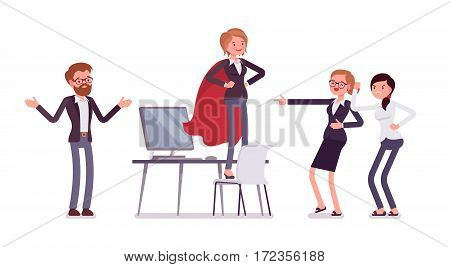 Office feale manager wearing a cloak, standing in akimbo pose, seeking recognition, hero syndrome in the work place, confident and honored, colleagues around, full length, isolated, white background