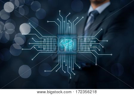 Artificial intelligence (AI), data mining, expert system software, machine learning, neural networks, nanotechnologies and another modern technologies concepts.