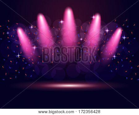 Lighting podium, stage spotlights. Abstraction. The gradient purple background. Vector illustration