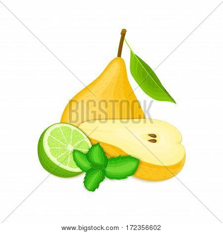 Vector composition of a few yellow pears citrus lime and mint leaves. Yellow pear fruits and tropical lime. Group of tasty ripe fruit with pepper mint leaf design of juice breakfast healthy vegan food