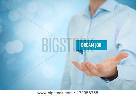 Dream job offer concept. Human resources recruiter offer dream job.