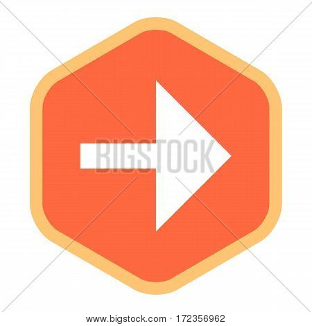 Use it in all your designs. Arrow sign in hexagon icon created in flat style. Quick and easy recolorable graphic element in technique vector illustration