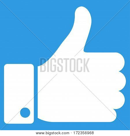 Thumb Up vector icon. Flat white symbol. Pictogram is isolated on a blue background. Designed for web and software interfaces.