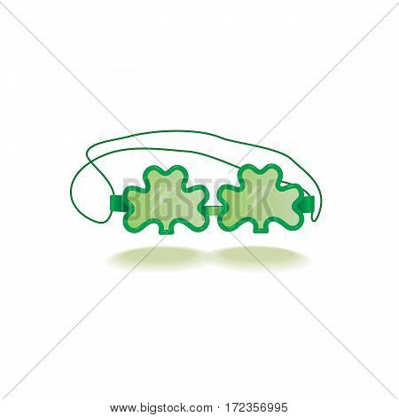 St. Patrick's Day sign. Freehand drawn cute icon emblem. Irish traditional holiday parade decoration. Creative fancy model of clover shape glasses. Ireland shamrock green symbol. Vector design element