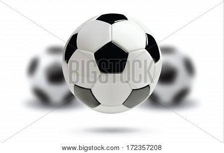 3d football or soccer ball with blurred balls on white background