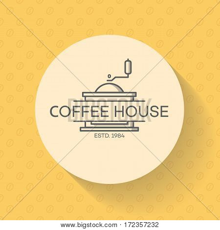 Coffee house logo with coffee machine on bean background. Vector design elements, business signs, logos, identity, labels, badges and other branding objects for your business. Vector illustration.