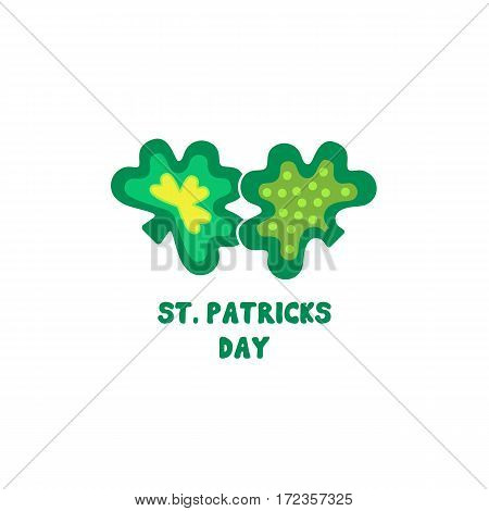 St. Patrick's Day sign. Freehand drawn cute cartoon emblem. Traditional Irish holiday celebration symbol. Ireland green shamrock icon. Vector logo design element. Decorative fancy three leaf clover