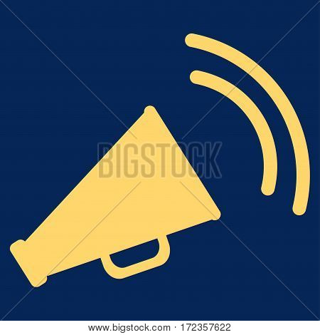 Announce Horn vector icon. Flat yellow symbol. Pictogram is isolated on a blue background. Designed for web and software interfaces.