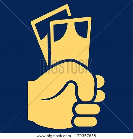 Banknotes Salary Hand vector icon. Flat yellow symbol. Pictogram is isolated on a blue background. Designed for web and software interfaces.
