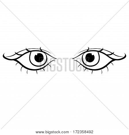 Eyes Young Female Silhouette Angry. Vector Illustration