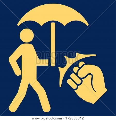 Crime Coverage vector icon. Flat yellow symbol. Pictogram is isolated on a blue background. Designed for web and software interfaces.