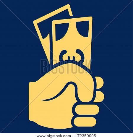 Euro Banknotes Salary vector icon. Flat yellow symbol. Pictogram is isolated on a blue background. Designed for web and software interfaces.