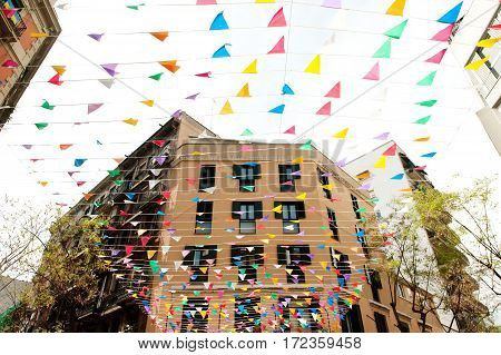 Barceloneta discrict in Barcelona Spain - buildings and decorations