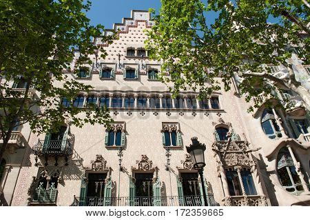 Building facade in gothic architecture style Barcelona Spain Europe