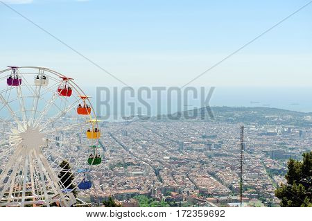 Barcelona panoramic view from Tibidabo mountain Spain Europe