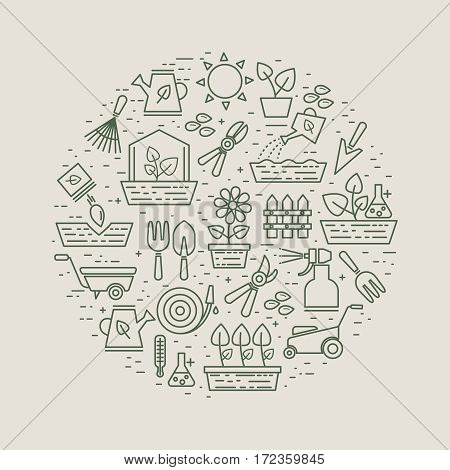 Garden and gardener linear label with flowers and plants, garden tools and seeds. Farming instrument for cultivation and growth plants. Vector illustration