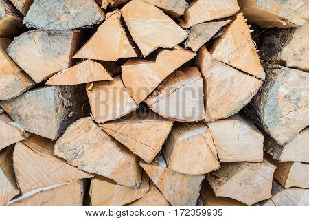 Natural wooden background closeup of chopped firewood. Firewood stacked and prepared for winter Pile of wood logs. Chopped firewood on a stack. poster