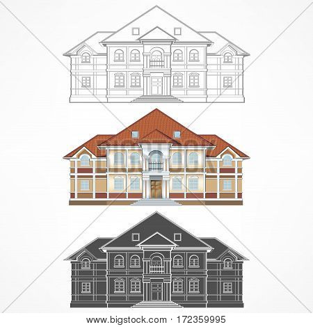 Architectural drawing facade of building three house