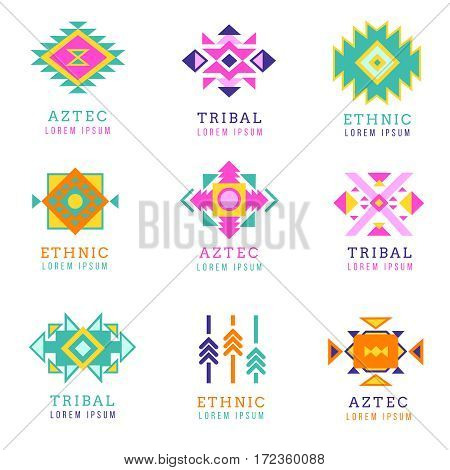 Aztec or apache motif style logo set. Native mexican labels isolated on white background. Collection of logotype in tribal indian style illustration