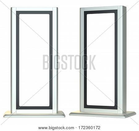 Blank lightboxes or signboards. Isolated on white background. 3D illustration