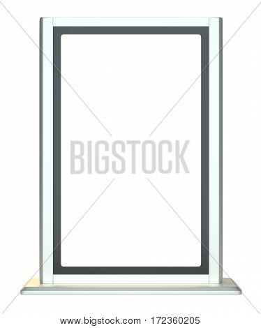 Vertical blank template outdoor lightbox. Isolated on white. 3D Illustration