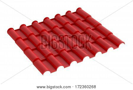 Metal red tile for roof, isolated on white background. 3d illustration