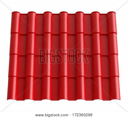 Metal tile. Material for roof, isolated on white background. 3d illustration