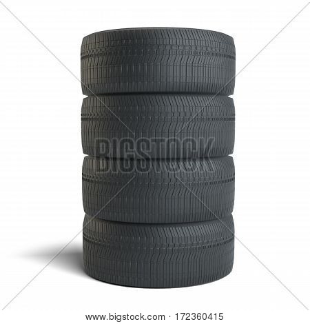 Stack of four black tires, isolated on white background. 3D Illustration