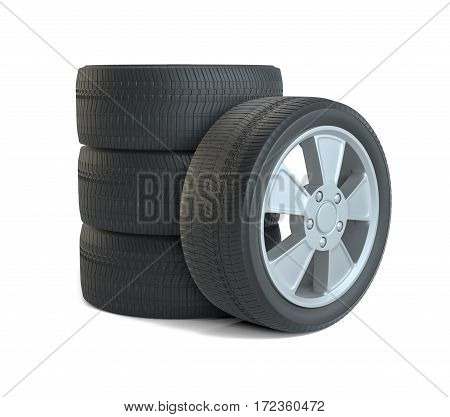 Car black new wheels, isolated on white background. 3d illustration
