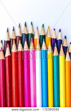 vibrant background abstract colour pencils in portrait