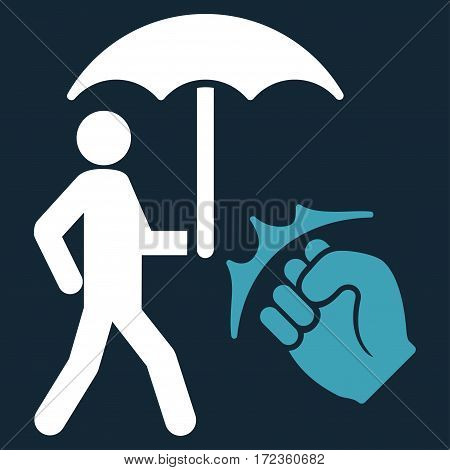 Crime Coverage vector icon. Flat bicolor blue and white symbol. Pictogram is isolated on a dark blue background. Designed for web and software interfaces.