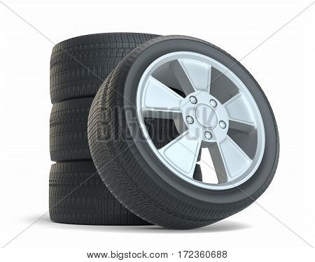Rubber tires. Isolated on white background. 3D Illustration