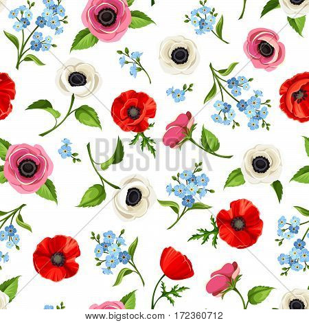 Vector seamless pattern with red, blue and white flowers on a white background.