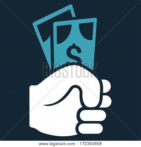 Dollar Banknotes Salary vector icon. Flat bicolor blue and white symbol. Pictogram is isolated on a dark blue background. Designed for web and software interfaces.