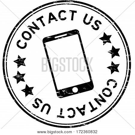 Grunge black contact us with phone icon round rubber seal stamp on white background
