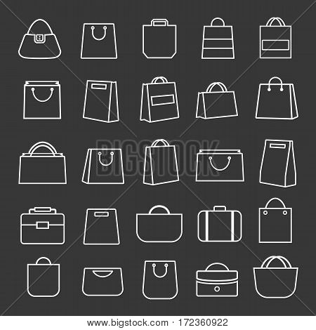 Set of shopping bag thin line icons white color and flat style isolated on white background. Vector illustration