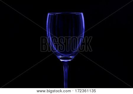 glass glass with a blue tint on black background