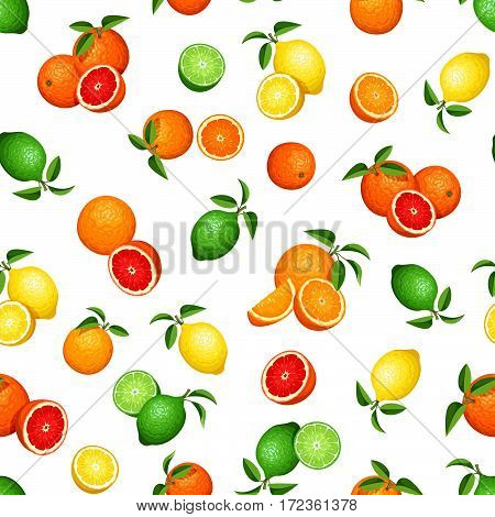 Vector seamless pattern with citrus fruits (oranges, lemons, limes and grapefruits) on a white background