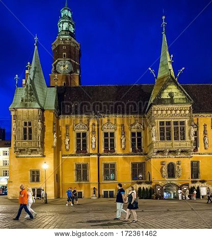 Wroclaw Poland - July 16 2014: Town Hall built in Gothic style of architecture is one of the main landmarks and tourist attractions in the city.