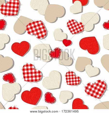 Vector Valentine's day seamless background with textured paper, fabric and wooden hearts on white.