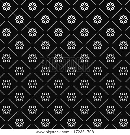 Line flower geometric seamless pattern. Fashion graphic background design. Modern stylish abstract texture. Monochrome template for prints textiles wrapping wallpaper website. VECTOR illustration