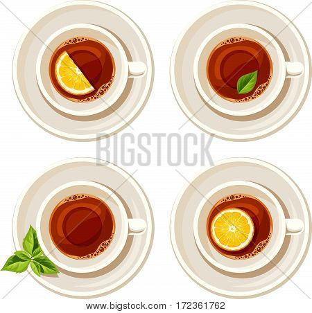 Vector set of four porcelain cups of tea with lemon and tea leaves isolated on a white background.