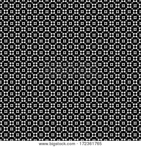 Vector monochrome seamless pattern, geometric texture, white rounded figures, crosses, squares, triangles on black backdrop. Modern abstract repeat background. Design for prints, decoration, digital, web