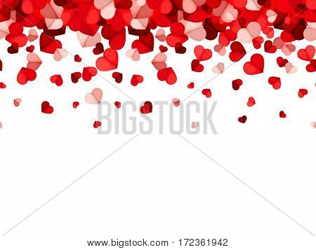 Vector horizontal seamless background with red and pink falling hearts.