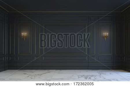 A classic interior is in dark tones with marble floor . 3d rendering.