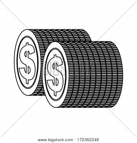 monochrome contour with coins stack in vertical position vector illustration