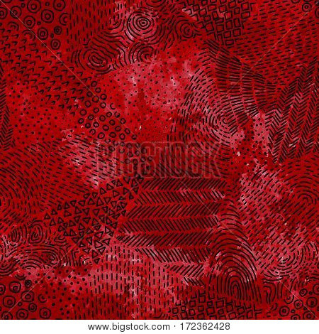Seamless pattern. Grunge watercolor texture. Red spray stains. Black doodle hand-drawn in a patchwork style. Vector illustration.