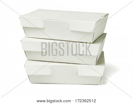 Stack of Takeaway Cardboard Food Boxes on White Background